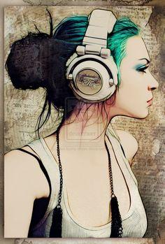black skull candy headphones on girl - Google Search