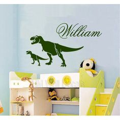 Personalised Name with T Rex Dinosaurs Removable Wall Decal | Temple & Webster