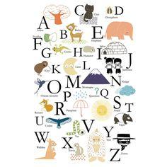 Affiche Alphabet ABC Annelore Parot pour Poisson Bulle - Poisson Bulle décoration pour chambres d'enfants et chambres bébé