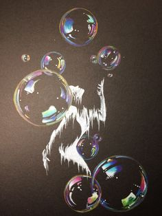 Bubble-Party by artsan-design. Chalk Drawings, Pencil Drawings, My Drawings, Pencil Drawing Tutorials, Drawing Ideas, Bubble Drawing, Black Canvas Paintings, Black Paper Drawing, Bubble Party