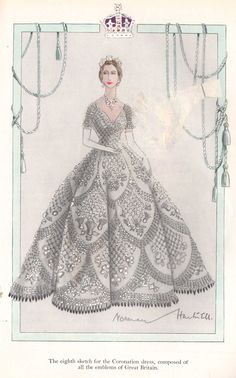 One of the eight submitted designs for the Coronation dress of Queen Elizabeth II by Norman Hartnell. This one (unselected) features all the emblems of Great Britain. Vintage Outfits, Vintage Gowns, Vintage Fashion, Vintage Dress, Norman Hartnell, Dress Sketches, Fashion Sketches, Types Of Gowns, Bridal Skirts