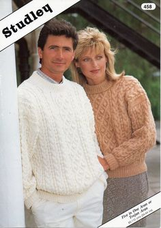 e3e762e3253f3a Womens mens aran sweater knitting pattern pdf ladies cable jumper crew neck  vintage 34-44 inch aran worsted 10ply pdf instant download