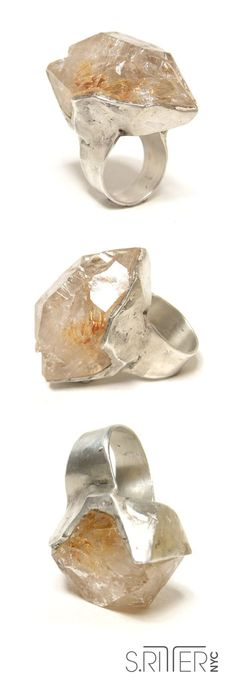 ice for your hand. raw fenster quartz set in sterling silver. raw natural stone rings elegant and raw statement rings www.SRitterNYC.com
