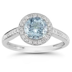 Unique Modern Diamond Engagement Rings | Modern Halo Aquamarine Diamond Ring in 14K White Gold