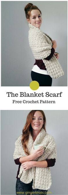 Crochet Blanket Scarf Pattern Free! This blanket scarf pattern is for the people who are always cold!