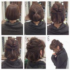 """Healthy mote hair arrangement"" that can teach easily for you - - frisuren, Trending Hairstyles, Up Hairstyles, Pretty Hairstyles, Braided Hairstyles, Easy Hairstyles For Short Hair, Bob Hairstyles How To Style, Buns For Short Hair, Short Hair Dos, Styling Short Hair Bob"