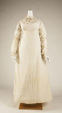 Morning dress Date: 1815–18 Culture: British Medium: cotton Dimensions: Length at CB: 55 in. (139.7 cm)