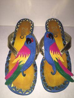 874d3c099390 Details about Zalo Multi-color Sandals with Parrot Detail Size 7. eBay.  ParrotFlip FlopsParrot ...