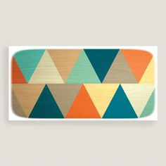 Bold and cheerful, our contemporary artwork is patterned with bright triangles for eye-catching geometric appeal.