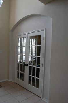"""Photo of Handyman Matters Collin County - """"Enclosed archway and installed french doors to create a study while maintaining the original arch theme. Arched Interior Doors, Arched Doors, Front Doors, Barn Doors, Home Office Design, Home Office Decor, Home Decor, Installing French Doors, Custom Wood Doors"""