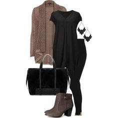 Plus Size Outfit - brown and black - found gorgeous black earrings to go with this at  jewelryfanatic.ki...