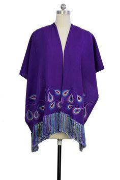 Purple Tasseled Peacock Wool Wrap by Saachi on @HauteLook