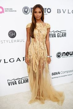 Jasmine Tookes In Zuhair Murad - At the Elton John AIDS Foundation Academy Awards Viewing Party