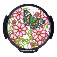 Blue Green Butterfly Pink Flowers LED Auto Decal LED Car Decal
