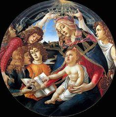 Sandro Botticelli-Madonna del Magnificat, 1480-1481, tempera su tavola, tondo, diametro 118 cm, Firenze, Galleria degli Uffizi