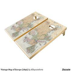 Vintage Map of Europe (1892) Cornhole Set