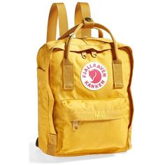 Women's Fjallraven 'Mini Kanken' Water Resistant Backpack ($60) ❤ liked on Polyvore featuring bags, backpacks, fillers, ochre, long bag, rucksack bags, miniature backpack, yellow bag and yellow backpack