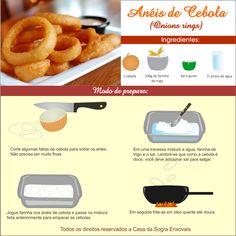 Aprenda a fazer anéis de cebola em casa! Veja esta e outras dicas em nosso blog: http://dicasdacasa.com.br