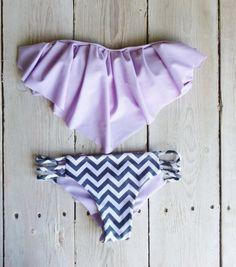 Ruffle Bandeau Bikini Top in Lilac + chevron