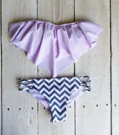 Ruffle Bandeau Bikini Top in Lilac by AZTECASWIMWEAR on Etsy