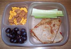 @Elizabeth Wavra:    Last night's quesadilla with seedless grapes. The celery has some seasoning salt on it. Crunchy goodness :)