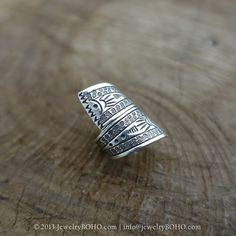 BOHO 925 Silver Ring-Gypsy Hippie Ring,Bohemian style,Statement Ring R113 JewelryBOHO,Handmade sterling silver BOHO Tribal printed ring