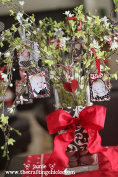 """Just <3 this craft!   Use your imagination for the """"tree"""" itself....and old """"Halloween Tree"""" painted red would look great or just branches from your yard painted red,pink or white. Then mix it up these cute photo ornies w/ little valentine ornies from the craft store!"""