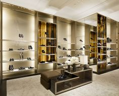 Louis Vuitton Shoes Wall Display Cabinet Wall Mounted with Brass Frame.