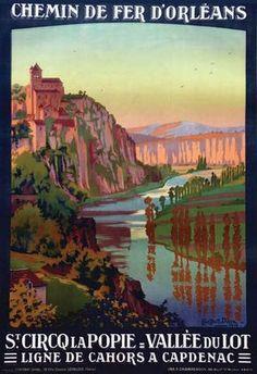 Vintage Railway Travel Poster - St Cirq La Popie - Vallée du Lot - France - 1914.