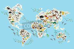 子ども、世界、白い大陸や海洋と海の青色の背景に島中から動物の漫画動物の世界地図。ベクトル図