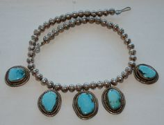 Navajo Squash Sterling Silver Turquoise Bench Bead Necklace LARGER Stones