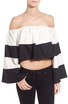 KENDALL   KYLIE Stripe Off the Shoulder Crop Top available at #Nordstrom
