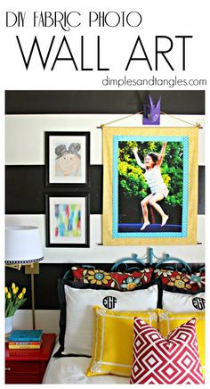 Dimples and Tangles: DIY FABRIC PHOTO WALL ART