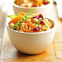 This is really good! Use Kashi's 7 grains if you don't have wheatberries or can't find them.  Wheat Berry Salad with Dried Apricots