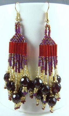 Chandelier Dangle Earrings Garnet Crystal 14K GF Beaded