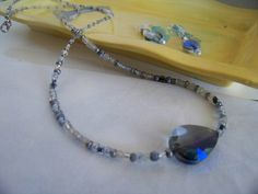 Necklace of Silver, Clear, Blue and Brown Seed Beads with a Heart-shaped Blue Acrylic Bead by kaysjewelrydesign on Etsy