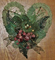 Sparkly Green Mossy Birds Nest Painted Vine Wreath by WillowGreen,