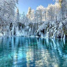 Frozen Plitvice Lakes, Croatia