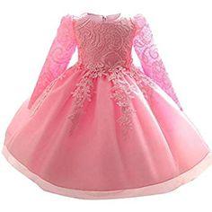 iiniim Baby Girls Long Sleeve Sequins Wedding Birthday Party Princess Flower Girl Tutu Dress Christening Baptism Gown