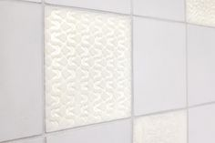 detail of back lit white porcelain tile with texture #tiles #transparant #white #translucent #porcelain #15x15 #bathroom #textiles #wall #decoration #led #imprint #relief #barbaravos #wallcovering #kitchen #shower #home #interior #design #glaze #backsplash #flower #pattern #coral #fabric