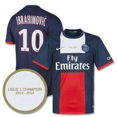 Camiseta del PSG 2013-2014 Local + Ibrahimovic 10 + Transfer Campeones de la Ligue 1 (Incluye Patrocinador QNB)