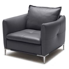Nice MidCentury Modern Arm and Lounge Chairs:Charcoal Grey Leather Bristol Living Room Lounge Chair