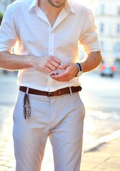 Not sure I like the shirt and cream pants combo.. But I like both pieces individually. I think a white/cream-ish button down is very very useful!
