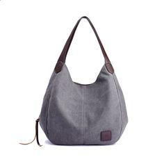 Canvas Bag Vintage Canvas Shoulder Bag Women Handbags Ladies Hand Bag Tote Casual Bolsos Mujer Hobos Bolsas Feminina 2018 – Best Women Fashion images in 2019 Sacs Tote Bags, Tote Purse, Hobo Bag, Hobo Purses, Women's Bags, Canvas Handbags, Satchel Handbags, Blue Handbags, Women's Handbags