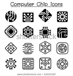 Computer Chips Electronic Circuit Icons Stock Vector (Royalty Free) 525537187 - Computer Chips and Electronic Circuit icons - Electronics Projects, Electronics For You, Computer Theme, Computer Chip, Computer Science, Computer Icon, Electronic Circuit Design, Electronic Arts, Circuit Drawing
