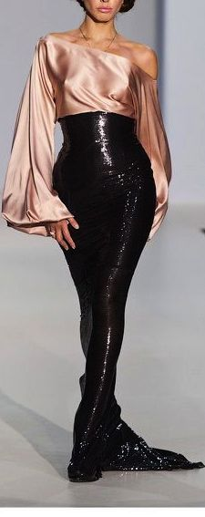 Luxurious, Hot one shoulder pink long sleeve satin blouse paired with hot fitted black sequined highwaisted skirt. This outfit is perfect for formal parties or hot dates! This could also be a great holiday party outfit too! Style Haute Couture, Couture Fashion, Runway Fashion, Fashion 2018, Love Fashion, High Fashion, Fashion Design, Fashion Tips, Beautiful Gowns