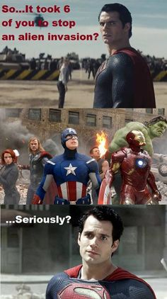 Supes owns Avengers!