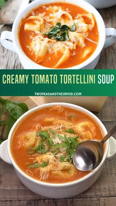 Tortellini Soup - creamy tomato soup with cheese tortellini and fresh basil. A classic tomato soup turned up a notch by adding delicious cheese tortellini, garnished with fresh basil and served with crusty bread. This easy tortellini soup is a favorite. Easy Soup Recipes, Meat Recipes, Vegetarian Recipes, Chicken Recipes, Dinner Recipes, Cooking Recipes, Healthy Recipes, Vegetable Recipes, Vegetarian Soup