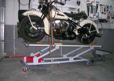 Elevador de motos casero - Fabricación - Harley Clasica Motorcycle Lift Table, Bike Lift, Vintage Bikes, Vintage Shops, Metal Fabrication, Cars And Motorcycles, Harley Davidson, Workshop, Drawings