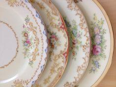 Vintage Mismatched Dishes Dessert/Bread & by ViaLuciaVintage